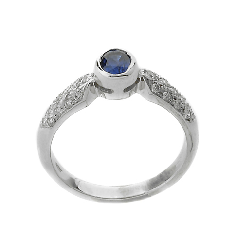 zaffiro blu con pavè diamanti